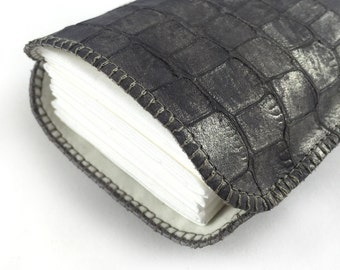 Taschentüchertasche Krokoleder grau metallisiert