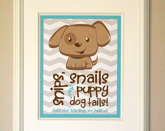 Snips, Snails & Puppy Dog Tails Art Print - Blue - Digital Download