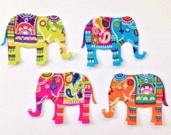 Set of 4 Indian ELEPHANT Appliques*Handmade*Timeless Treasures fabric/242