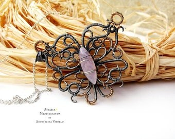 Wire Wrapped Butterfly Pendant in Sterling Silver Gold Filled 14k and Pink Rose Quartz.