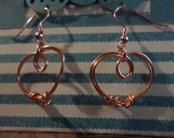 Copper Wire Heart Dangle Earrings