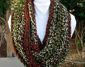 READY TO SHIP Crochet Infinity Scarf, Large Loop Cowl, Dark Green, Brown, Beige, Red, Extra Soft Long Thick Acrylic Big Knit Winter Circle