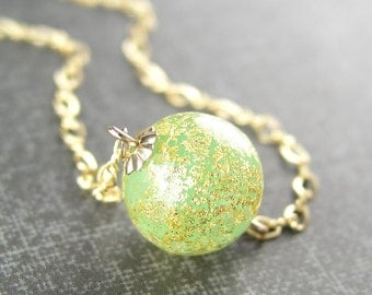 Gold Peridot Necklace August Birthstone Authentic 24k Gold Foil Venetian Murano Glass Peridot Pendant Necklace 14k Gold Fill Chain Necklace