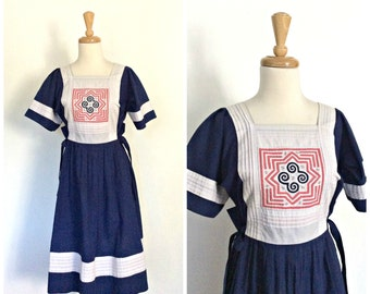 Vintage Nautical Dress - 80s dress - cotton sundress - hippie dress - resort wear - blue day dress - S M