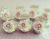 Mr & Mrs Party Picks - ivory with pastel pink bows - set of 10