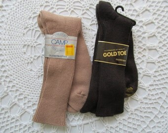 2 Vintage Pair Mens Socks Gold Toe Fluffies and Camp Globetrotter Brown Tan Color Size 10 - 13