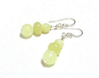 Yellow Earrings, Citrine & Yellow Quartz Beads, Gemstone Earrings, Stack Earrings, .925 Sterling Silver, Pale Yellow Earrings, Lemon Yellow
