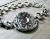 Forest Moon Bracelet, Fine Silver Jewelry, Handmade in Recycled Silver From Artisan Original Carving, by SilverWishes