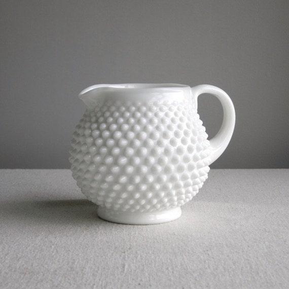 Vintage Fenton Hobnail Milk Glass Jug or Pitcher - White Glass Vase - 1960s