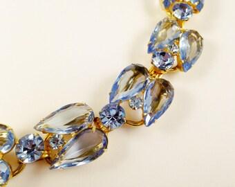 Juliana Bracelet - Delizza and Elster Bracelet - 5 Link Bracelet - Light Blue Rhinestone Bracelet - Vintage Rhinestone Bracelet - Gold Tone