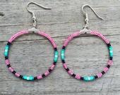 Handmade Beaded Hoop Earrings Neon Pink and Turquoise