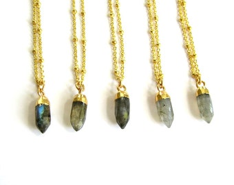 24k gold dipped labradorite necklace . small labradorite pendant necklace on gold chain . delicate necklace . labradorite point jewelry