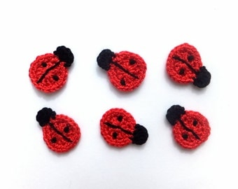 Crochet ladybugs applique - small ladybirds embellishment - lady beetles applique - red ladybugs embellishment - set of 6  ~1 x 0.8 inches