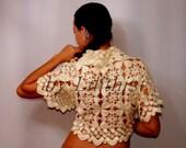 Ivory Crochet Shrug, Crochet Lace Bolero, Lace Wedding Shrug, Bridal Bolero Jacket, Bridal Shrug Cape, Bridesmaid Gift Bridal Cover Up S-M-L