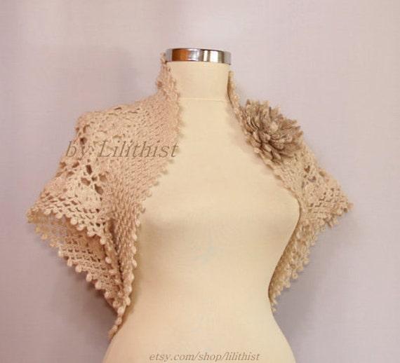 Crochet Lace Shrug Bolero Wedding Dress Cover Up By Lilithist