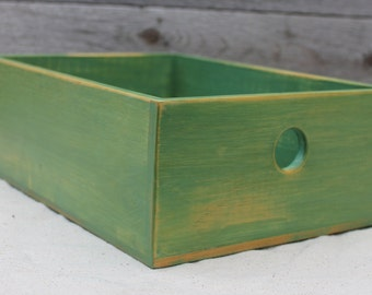 Rustic Modern Desktop Storage Box in Pine Green
