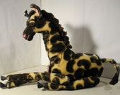 Artists original Giraffe in Mohair stuffed fabric with sculpted details  oh my!