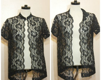 90s Sheer Black Lace Top Blouse Kimono Short Sleeve Shirt OSFM Goth Witchy Stevie Nicks