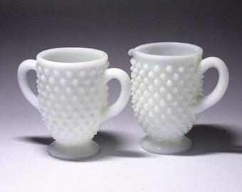 Vintage Hobnail Milk Glass Sugar and Cream set - circa 1970's