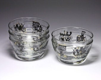Vintage Libbey Auto Horseless Carriage Bowls - circa 1950's - Set of 5