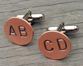Personalized Monogram Cuff Links, Custom Cufflinks - Hand Stamped Copper - Any 2 LETTERS - Initials, WEDDING Cuff LinksGroomsmen Groom
