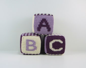 Set of Three Knitted Blocks- Purples and White