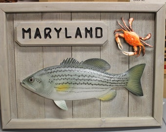 Rockfish and Crab Nautical Decor - Handcrafted Wooden Maryland Sign