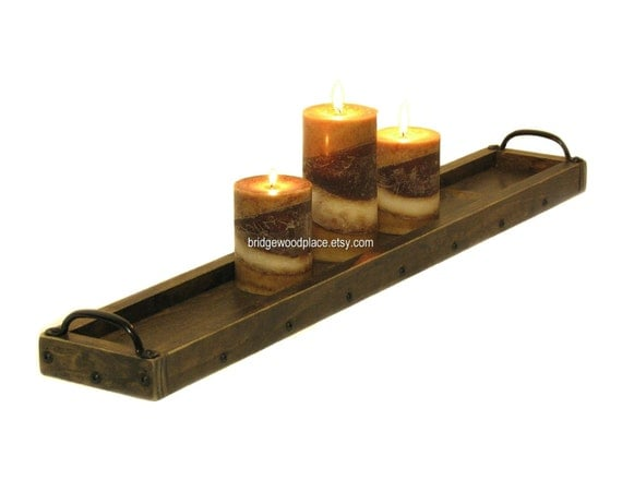 Candle holder wooden tray table by bridgewoodplace