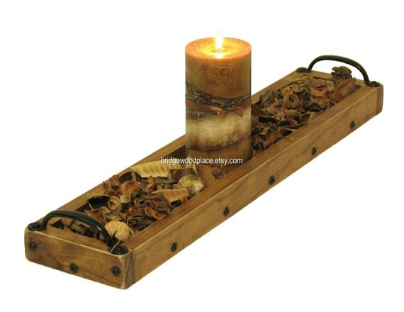 Candle centerpiece tray wooden holder