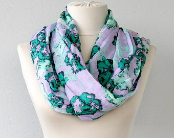 Cotton scarf infinity scarf Summer shawl Eternity scarf Circle loop Crinkle fabric Lilac Mint green Gift for her Summer accessories