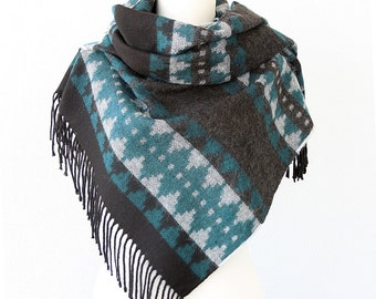 Blanket scarves Native shawl Oversize wrap Tribal Aztec Winter fashion large scarf Thick wool scarf Chunky bulky scarf Teal and black shawl