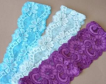 Lace headband set of 3 stretchy headband mint aqua purple headbands adult headband women lacy hair bands bridemaids gift ideas boho headband