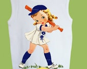 Retro Baseball Girl, Girls Tank, Baseball T-Shirt, Vintage Girl Top, or One Piece Baby by ChiTownBoutique.etsy