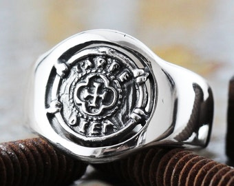 Sterling Silver Rings for Men and Women Signet Coin Ring Mens Jewelry