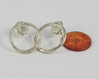 Handcrafted Sterling Silver Circle Post Earrings Hammered Texture 7/8 Inch Diameter Classic and Contemporary Artisan Jewelry Design 71857215