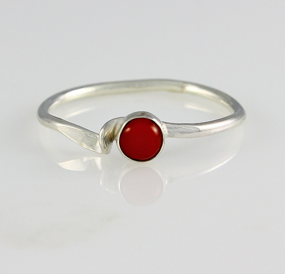 size 12 ring handcrafted sterling silver and coral wave