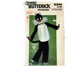 Vintage 70's Butterick 6349, Sylvester Cat Costume Sewing Pattern, Kids Sylvester Costume, Looney Tunes, Warner Brothers, Costume Pattern