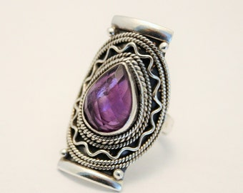 Amethyst ring. Sterling silver ring. UK size P . US size  US size 7 1/2