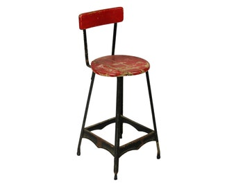 vintage industrial red factory stool