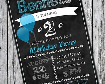 Blue Chalkboard Printable Birthday Party Invitation - Invite for Children's Party - Blue Balloons Print at home - Custom Design ombre faded