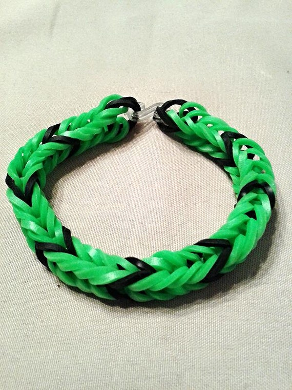 Black and green fishtail rubber band bracelet by ...