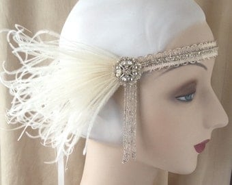 1920's rhinestone headdress antique beaded fringe silver bridal flapper headband with ivory feathers- vivian-made to order