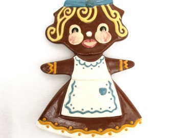 Vintage Tile Gingerbread Girl Tile Kitchen Tile Decorative Tile Cookie Tile Trivet 1950 50s Wall Decor Vintage Christmas Decor