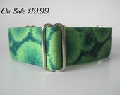 "1.5"" Martingale Collars, Green Martingale Dog Collar, Green Dog Collar, Boy Dog Collar"