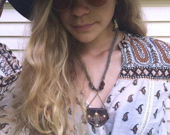 Clay Hamsa Necklace, eco necklace, mixed media necklace, charm necklace,hemp necklace,hippy necklace,neutral necklace, zen necklace zasra