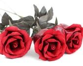 Dark red leather roses third Anniversary wedding gift long Stem leather Flower Valentine's Day 3rd Leather Anniversary Mother's Day Prom