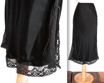 Vintage 1950's Slip // 50s Black Nylon Skirt Slip with Lace Trim // Hollywood Bombshell  // DIVINE