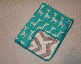 Chevron and Giraffe MINKY Blanket- Ships in 1-3 Business Days