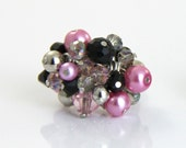 OUT OF TOWN - Classic Pink - Pink Black Silver Adjustable Cluster Ring - Light Pink Crystal Pearl Silver Tone Cocktail Bauble Statement Ring