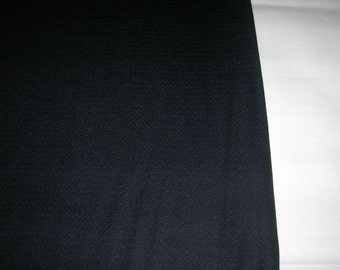 "Vintage ""1969"" Black Wool Suiting Fabric Jet Black 100% Wool London Raeford Worsted Co. 60"" Wide 2+ Yards Long"